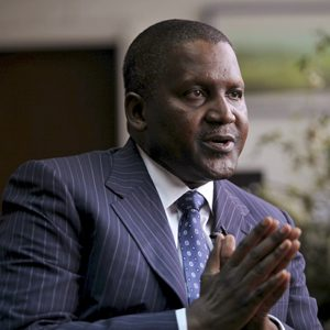 File picture of founder and CEO of Dangote Group Aliko Dangote gesturing during an interview with Reuters in Lagos