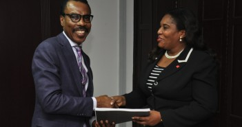 L-R: Mr. Bismarck Rewane, Managing Director, Financial Derivatives Company Ltd. ; Mrs. Toyin Sanni, Group CEO, United Capital Plc